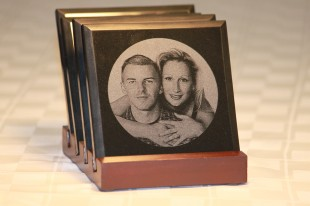 Photo laser engraved on marble coasters